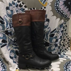 Two tone faux leather boots